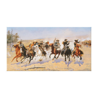 COWBOYS AND AMERICAN INDIANS. VINTAGE WESTERN CANVAS PRINT