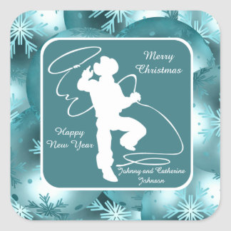 Cowboys Cowgirls Roping On Blue Holiday Stickers 2