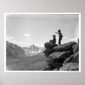 Cowboys on a ridge poster