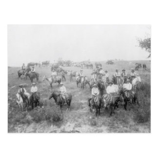 Cowboys On Horseback Postcard