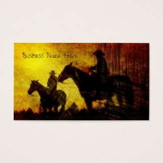 Cowboys on Horses Grunge Business Cards