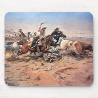 Cowboys roping a steer, 1897 (oil on canvas) mouse pad