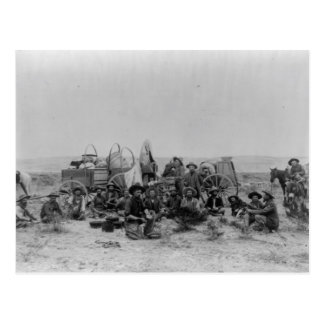 Cowboys Sitting By Supply Wagons Postcard