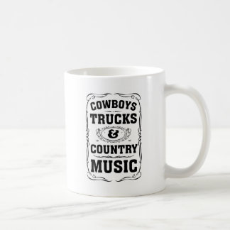 Cowboys Trucks And Country Music Basic White Mug