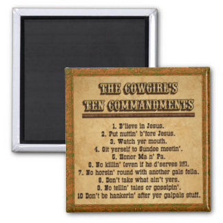 Cowgirl 10 Commandments Magnet