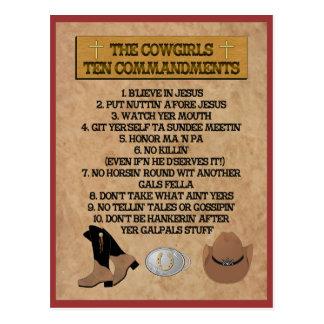 Cowgirl 10 Commandments POSTCARD