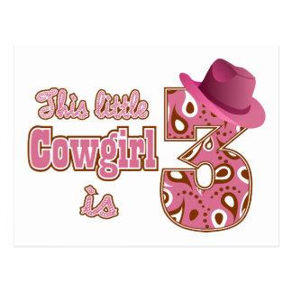 Cowgirl 3rd Birthday Postcard