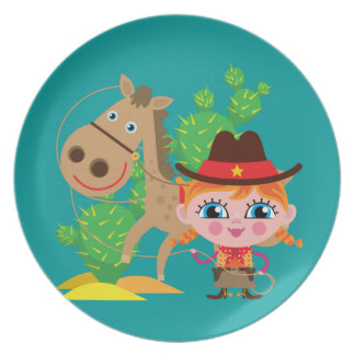 Cowgirl and Horse Plate