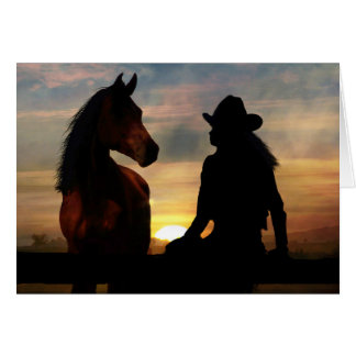 Cowgirl and Horse Sympathy Loss of Horse Card