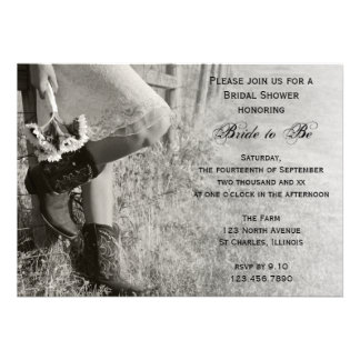 Cowgirl and Sunflowers Country Bridal Shower Invitation