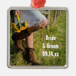 Cowgirl and Sunflowers Country Western Wedding Metal Ornament