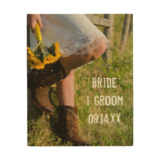 Cowgirl and Sunflowers Country Western Wedding Wood Wall Decor