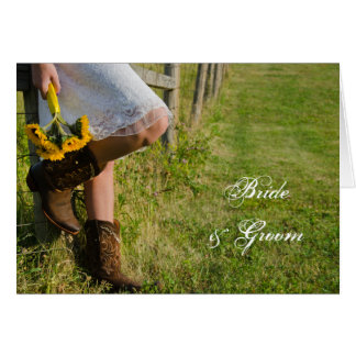 Cowgirl and Sunflowers Western Wedding Invitation