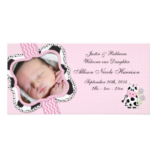 Cowgirl Baby Announcement with Chevron Print Picture Card