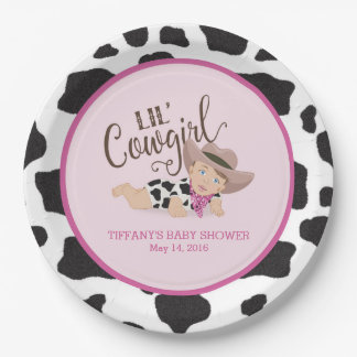 Cowgirl Baby Shower Personalized Plate Brunette 9 Inch Paper Plate