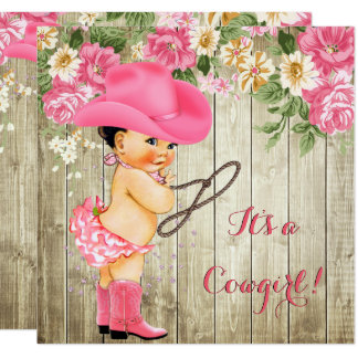 Cowgirl Baby Shower Pink Boots Floral Brunette Card