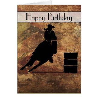 Cowgirl Barrel Racer Happy Birthday Card