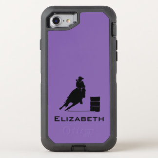 Cowgirl Barrel Racer Silhouette Rodeo on Purple OtterBox Defender iPhone 8/7 Case