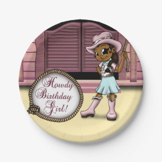 """Cowgirl Birthday Paper Plates 7"" 7 Inch Paper Plate"