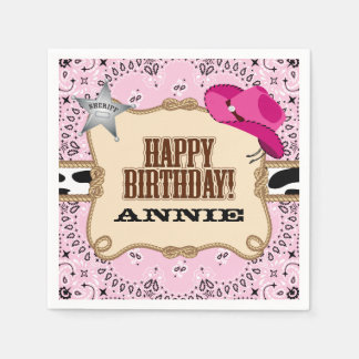 Cowgirl Birthday Party, Custom Napkins Disposable Napkins