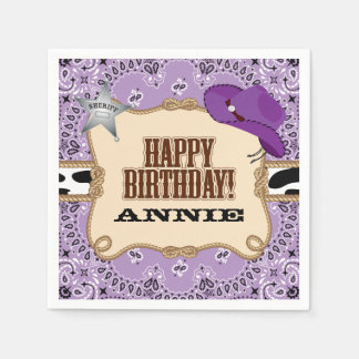 Cowgirl Birthday Party, Custom Napkins Paper Napkins