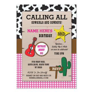 Cowgirl Birthday Pink Western Girls Any Age Invite
