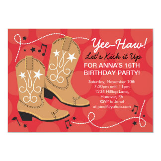 Cowgirl birthday theme party invitations