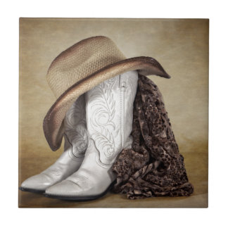 Cowgirl Boot Western Lace Hat Tile