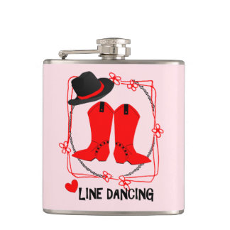 Cowgirl Boots Cute Line Dancing Theme Graphic Hip Flask