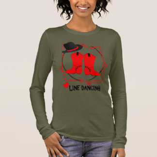 Cowgirl Boots Cute Line Dancing Theme Graphic Long Sleeve T-Shirt