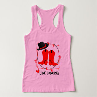Cowgirl Boots Cute Line Dancing Theme Graphic Tank Top