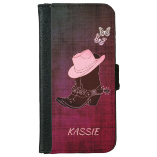 Cowgirl Boots Hat Butterfly Burgundy Personalized iPhone 6 Wallet Case