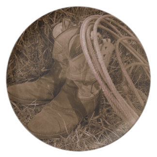 Cowgirl Boots & Lariat Party Plates