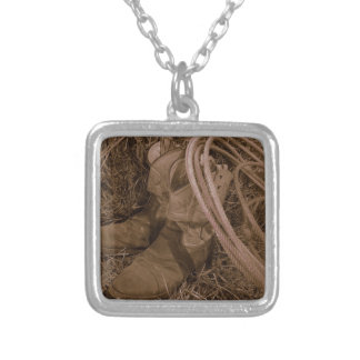 Cowgirl Boots & Lariat Silver Plated Necklace