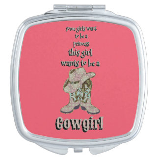Cowgirl boots makeup mirror