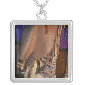 Cowgirl boots silver plated necklace
