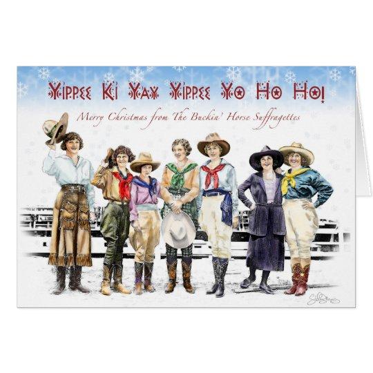 Cowgirl Buckin' Horse Suffragette Christmas Card
