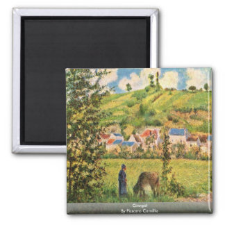 Cowgirl By Pissarro Camille Square Magnet