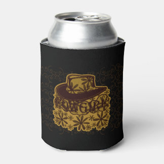 Cowgirl Cowboy Hat Brown Can Cooler