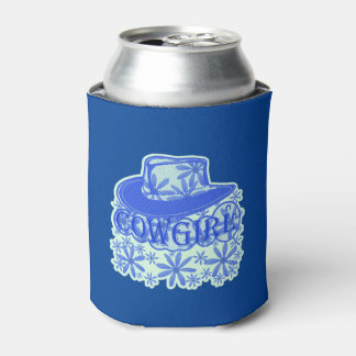 Cowgirl Cowboy Hat Flowers Blue/Lite Blue Can Cooler