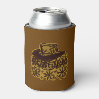 Cowgirl Cowboy Hat Flowers Brown Can Cooler