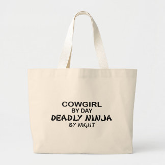 Cowgirl Deadly Ninja by Night Large Tote Bag