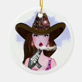 "COWGIRL ""Hair Diva"" Ceramic Ornament"