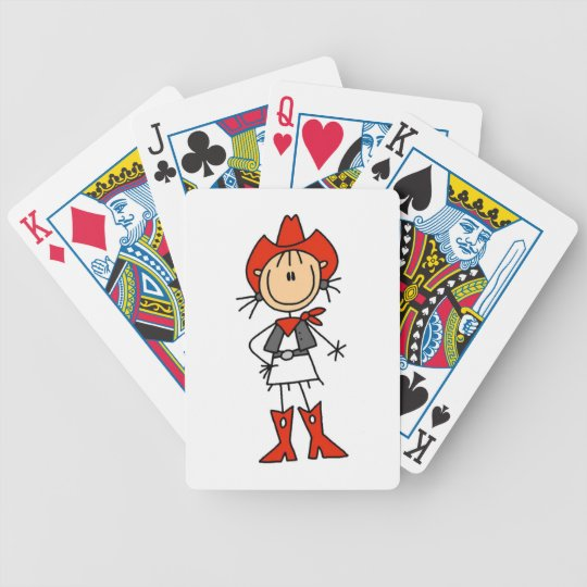 Cowgirl in Red T-shirts and Gifts Bicycle Playing Cards