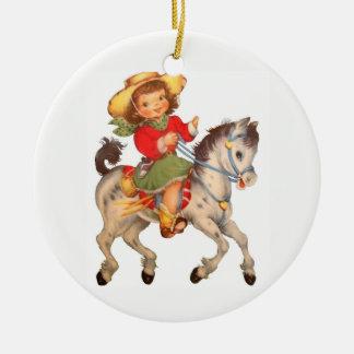 Cowgirl Kid Ceramic Ornament