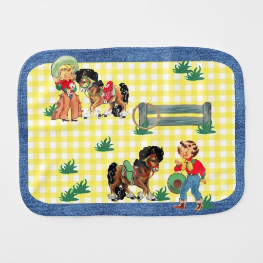 Cowgirl Kids With Horses And Fence Denim Print Burp Cloths