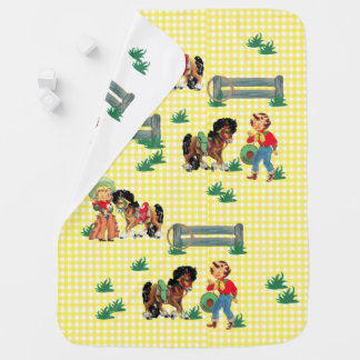 Cowgirl Kids With Horses and Fence with Rope Receiving Blankets
