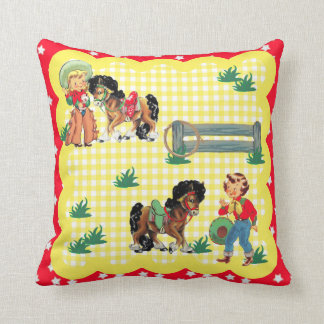 Cowgirl Kids With  Horses Western Baby Gift Throw Pillow