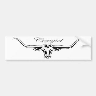 Cowgirl Longhorn Bumper Sticker
