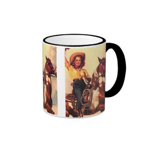 Cowgirl on Her Horse Ringer Coffee Mug